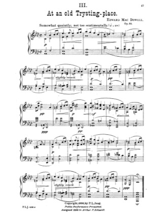 Thumbnail of first page of At An Old Trysting-place piano sheet music PDF by Edward MacDowell.