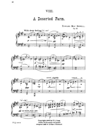 Preview of First Page of A Deserted Farm sheet music by Edward MacDowell
