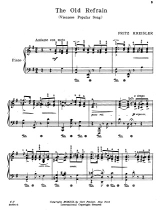 Thumbnail of first page of The Old Refrain piano sheet music PDF by Fritz Kreisler.