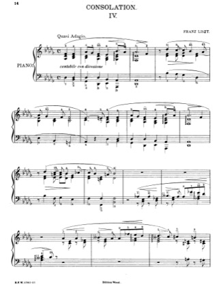 Thumbnail of first page of Consolations - Consolation No. 4 in D-flat Major piano sheet music PDF by Liszt.