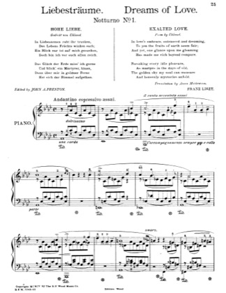 Thumbnail of first page of Liebestraume (Dreams of Love) No. 1 in A-flat Major piano sheet music PDF by Liszt.