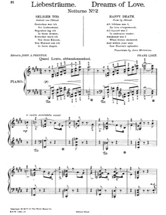 Thumbnail of first page of Liebestraume (Dreams of Love) No. 2 in E Major piano sheet music PDF by Liszt.