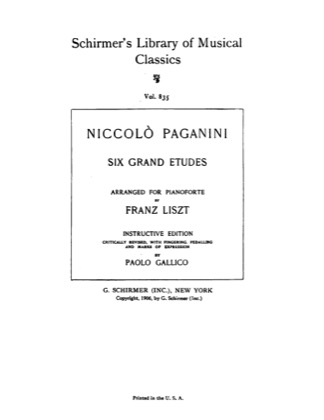Thumbnail of first page of Schirmer's Library of Musical Classics (Paganini Etudes) piano sheet music PDF by Liszt.