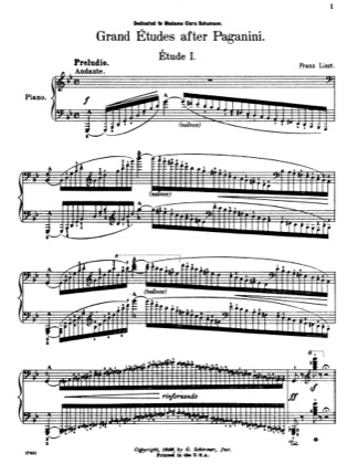 Thumbnail of first page of Etude No. 1 in G minor piano sheet music PDF by Liszt.