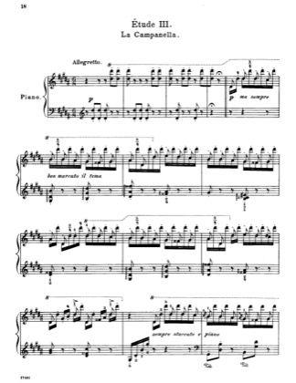 Thumbnail of first page of Etude No. 3 in G-sharp minor (La campanella) piano sheet music PDF by Liszt.
