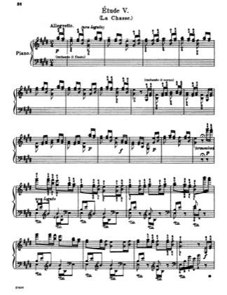 Etude No  5 in E major (La chasse) by Liszt Piano Sheet
