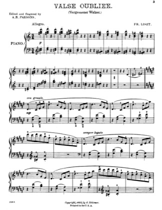 Thumbnail of first page of Valse Oubliee piano sheet music PDF by Liszt.
