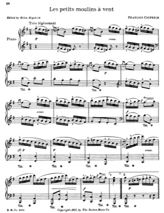 Thumbnail of first page of Les Petits Moulins A Vent piano sheet music PDF by Francois Couperin.