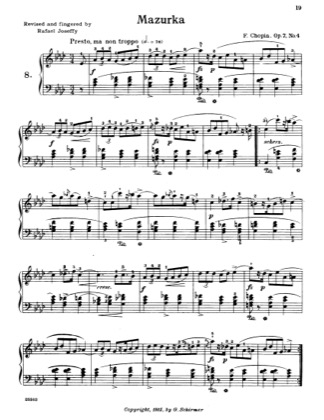 Thumbnail of first page of Mazurka piano sheet music PDF by Chopin.