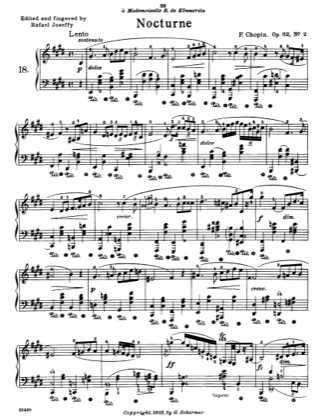 Thumbnail of first page of Nocturne piano sheet music PDF by Chopin.