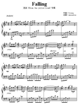 Thumbnail of first page of Falling piano sheet music PDF by Yiruma.