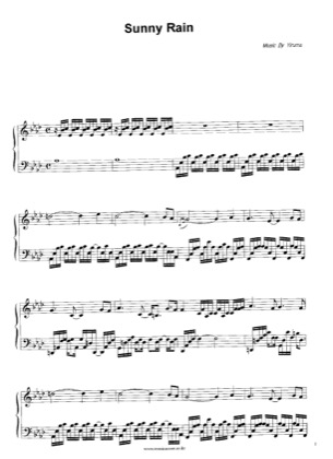 Thumbnail of first page of Sunny Rain piano sheet music PDF by Yiruma.