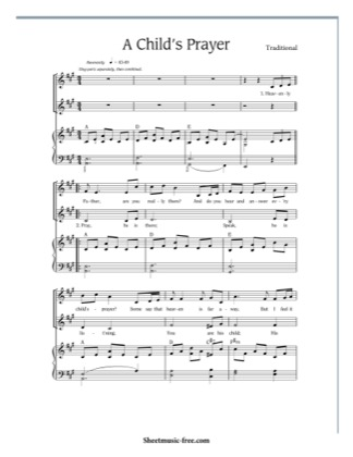 Thumbnail of first page of A Child's Prayer  piano sheet music PDF by Traditional.