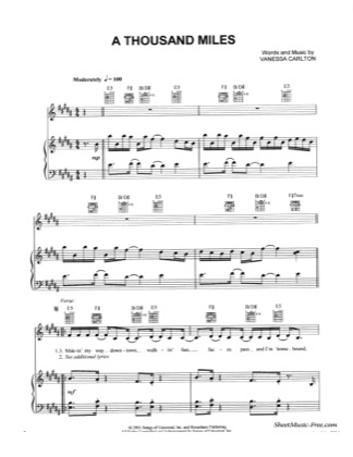 Thumbnail of first page of A Thousand Miles  piano sheet music PDF by Vanessa Carlton.