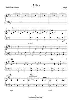 Thumbnail of first page of Atlas  piano sheet music PDF by Coldplay.