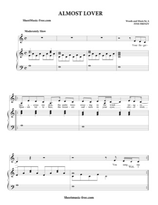 Thumbnail of first page of Almost Lover  piano sheet music PDF by A Fine Frenzy.