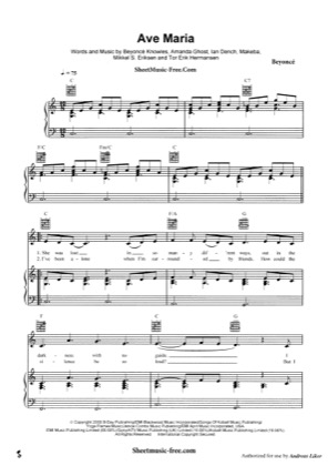Ave Maria By Beyonce Piano Sheet Music Sheetdownload