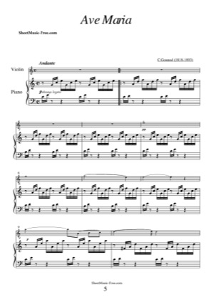 Thumbnail of first page of Ave Maria  piano sheet music PDF by Gounod.