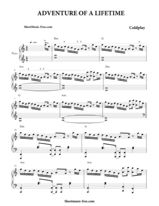 Thumbnail of first page of Adventure Of A Lifetime  piano sheet music PDF by Coldplay.