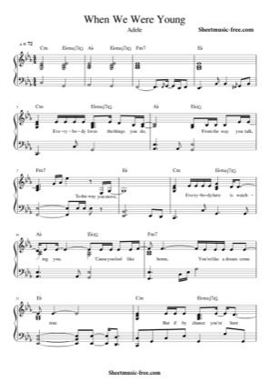 Thumbnail of first page of When We Were Young piano sheet music PDF by Adele.