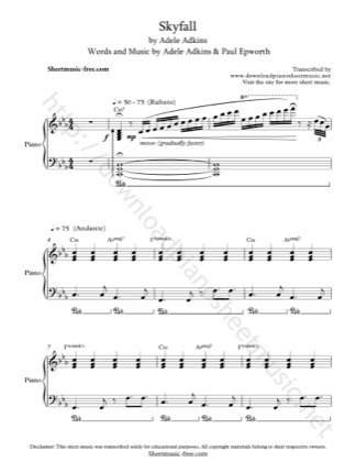 Thumbnail of first page of Skyfall piano sheet music PDF by Adele.