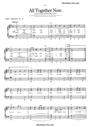 Thumbnail of first page of All Together Now piano sheet music PDF by The Beatles.