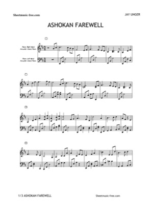 Thumbnail of first page of Ashokan Farewell piano sheet music PDF by Jay Unger.