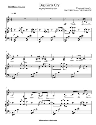 Thumbnail of first page of Big Girls Cry  piano sheet music PDF by Sia.