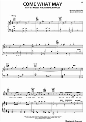 Thumbnail of first page of Come What May  piano sheet music PDF by Moulin Rouge .