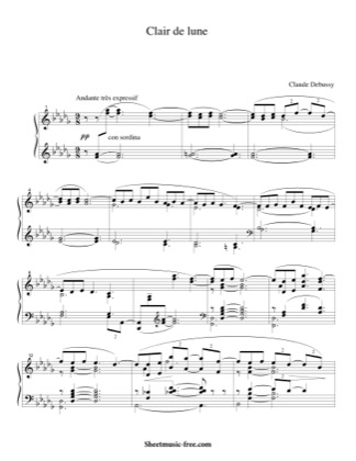 Thumbnail of first page of Clair De Lune (2) piano sheet music PDF by Debussy.