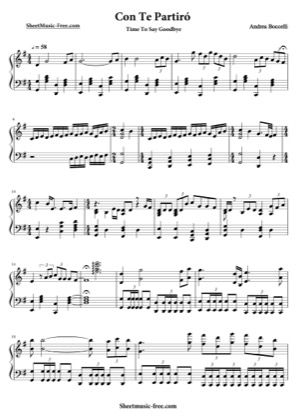 Thumbnail of first page of Con Te Partiro  piano sheet music PDF by Andrea Boccelli.