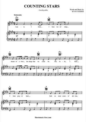 Thumbnail of first page of Counting Stars  piano sheet music PDF by One Republic.