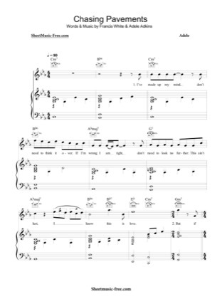 Thumbnail of first page of Chasing Pavements  piano sheet music PDF by Adele.
