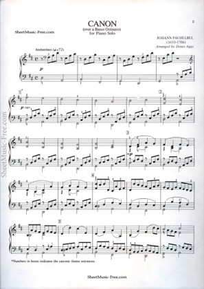 Thumbnail of first page of Canon  piano sheet music PDF by Pachelbel.