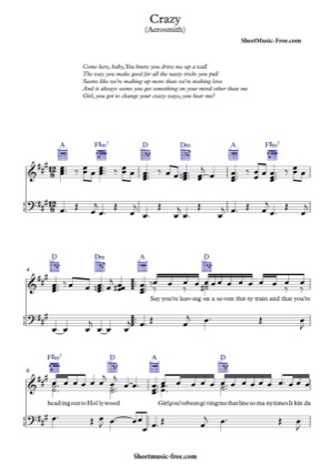 Thumbnail of first page of Crazy  piano sheet music PDF by Aerosmith.