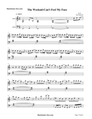 Print and download for free: Cant Feel My Face piano sheet music by The Weeknd.