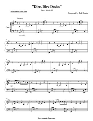 Thumbnail of first page of Dire Dire Docks  piano sheet music PDF by Super Mario 64.