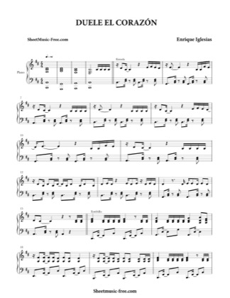 Thumbnail of first page of Duele El Corazon  piano sheet music PDF by Enrique Iglesias.