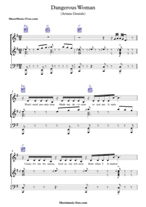 Thumbnail of first page of Dangerous Woman  piano sheet music PDF by Ariana Grande.