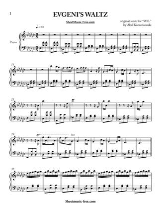 Thumbnail of first page of Evgeni's Waltz  piano sheet music PDF by Abel Korzeniowski.