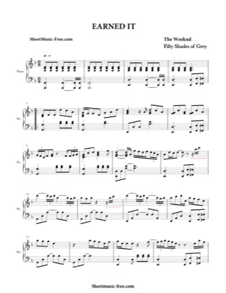 Thumbnail of first page of Earned It  piano sheet music PDF by The Weeknd.