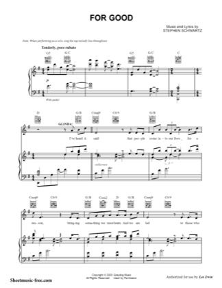 Thumbnail of first page of For Good  piano sheet music PDF by Wicked.