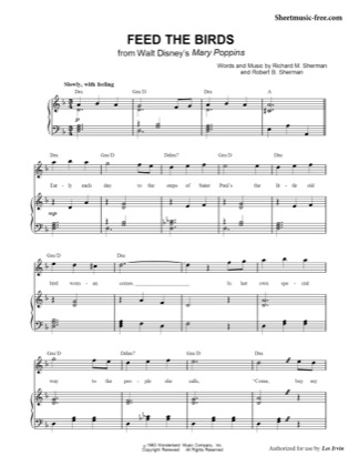 feed the birds sheet music free