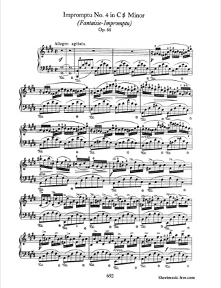 Thumbnail of first page of Fantaisie Impromptu  piano sheet music PDF by Chopin.