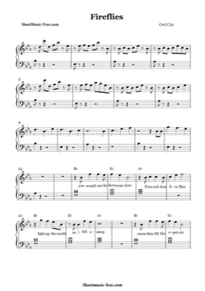 Thumbnail of first page of Fireflies  piano sheet music PDF by Owl City.