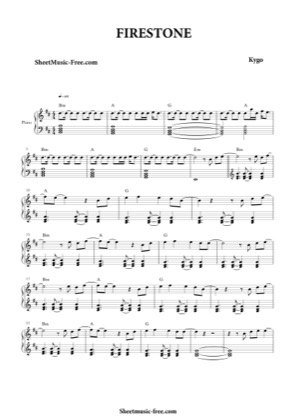 Thumbnail of first page of Firestone  piano sheet music PDF by Kygo.