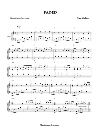 Thumbnail of first page of Faded  piano sheet music PDF by Alan Walker.