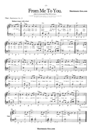 Thumbnail of first page of From Me To You piano sheet music PDF by The Beatles.