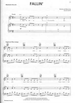 Thumbnail of first page of Fallin  piano sheet music PDF by Alicia Keys.