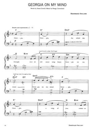 Thumbnail of first page of Georgia On My Mind  piano sheet music PDF by Ray Charles.